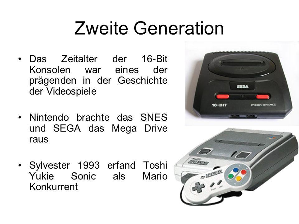 Zweite Generation Das Zeitalter der 16-Bit Konsolen war eines der prägenden in der Geschichte der Videospiele Nintendo brachte das SNES und SEGA das Mega Drive raus Sylvester 1993 erfand Toshi Yukie Sonic als Mario Konkurrent