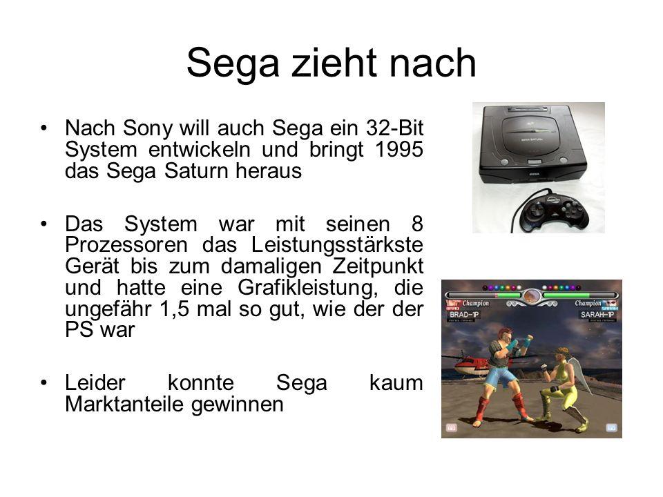 Sega zieht nach Nach Sony will auch Sega ein 32-Bit System entwickeln und bringt 1995 das Sega Saturn heraus Das System war mit seinen 8 Prozessoren das Leistungsstärkste Gerät bis zum damaligen Zeitpunkt und hatte eine Grafikleistung, die ungefähr 1,5 mal so gut, wie der der PS war Leider konnte Sega kaum Marktanteile gewinnen