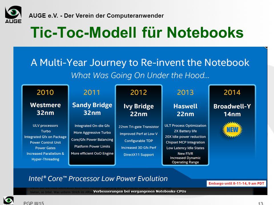 AUGE e.V. - Der Verein der Computeranwender Tic-Toc-Modell für Notebooks 13 PGP III/15