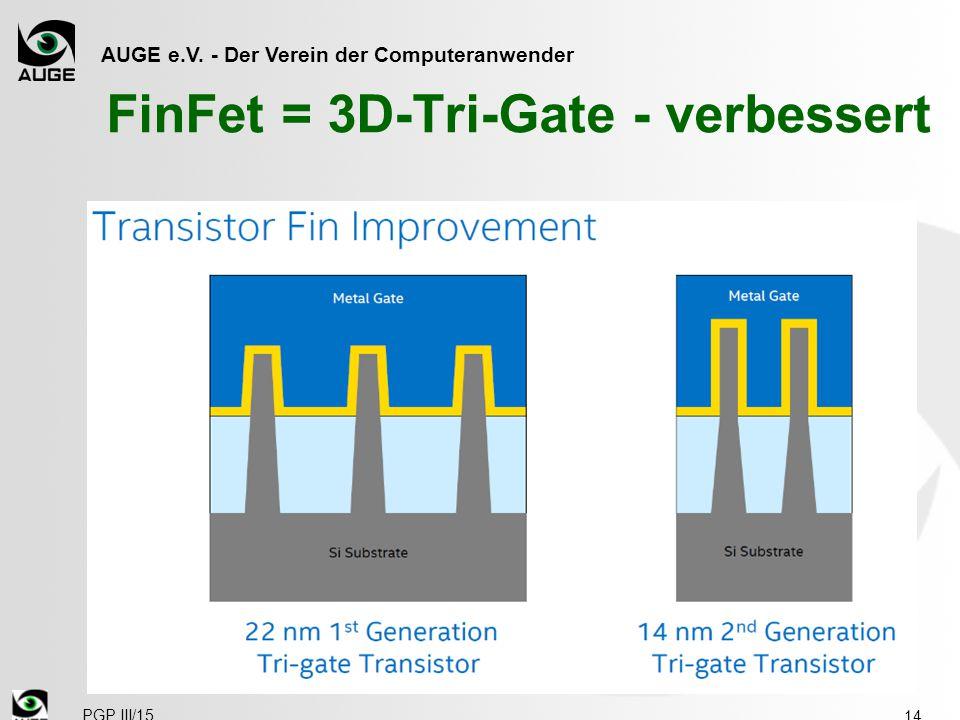 AUGE e.V. - Der Verein der Computeranwender FinFet = 3D-Tri-Gate - verbessert 14 PGP III/15