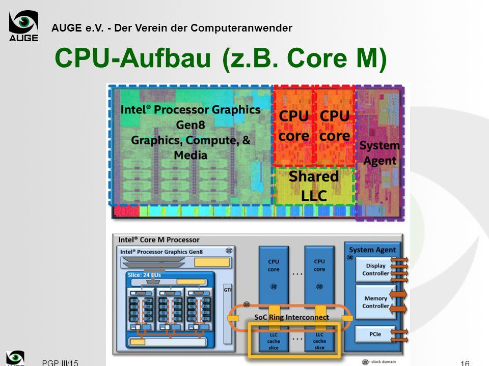 AUGE e.V. - Der Verein der Computeranwender CPU-Aufbau (z.B. Core M) 16 PGP III/15