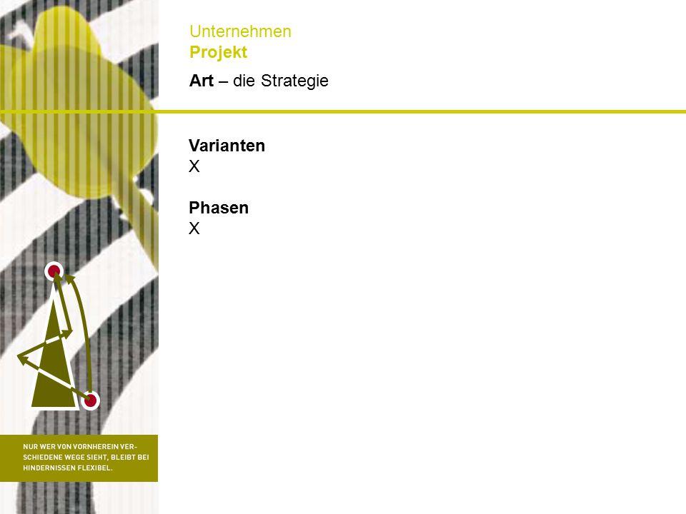 Art – die Strategie Unternehmen Projekt Varianten X Phasen X