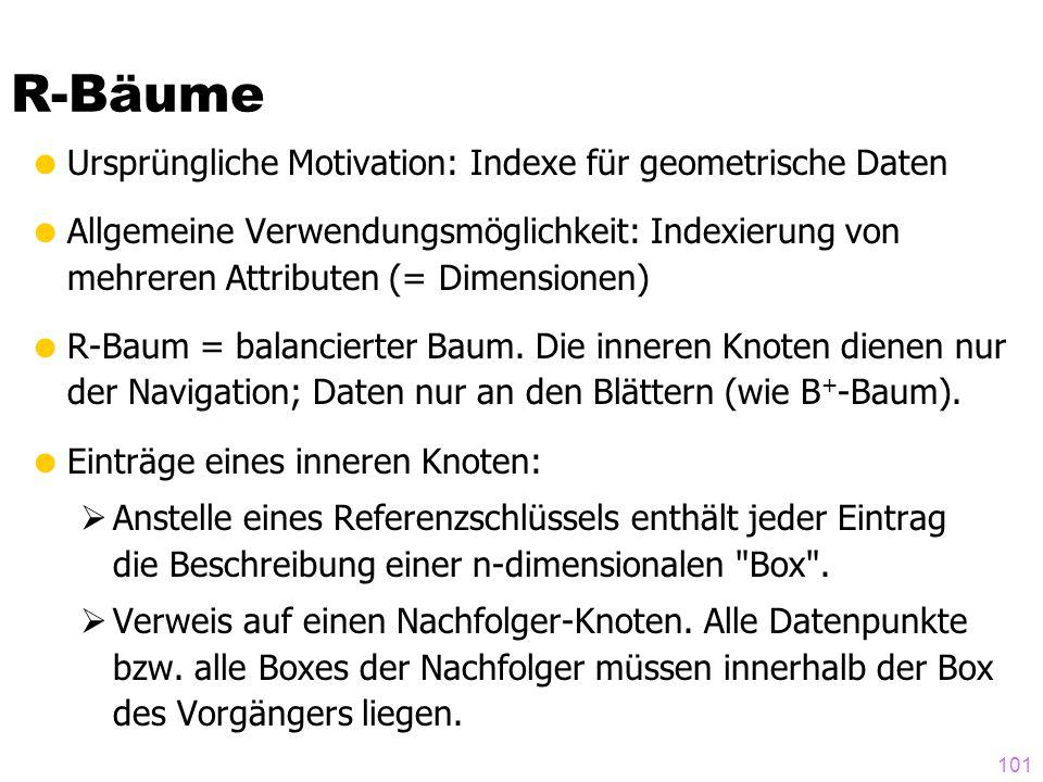 101  Ursprüngliche Motivation: Indexe für geometrische Daten  Allgemeine Verwendungsmöglichkeit: Indexierung von mehreren Attributen (= Dimensionen)