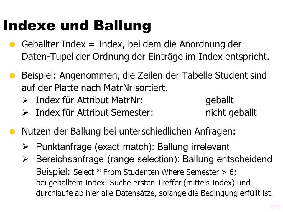 111  Geballter Index = Index, bei dem die Anordnung der Daten-Tupel der Ordnung der Einträge im Index entspricht.  Beispiel: Angenommen, die Zeilen
