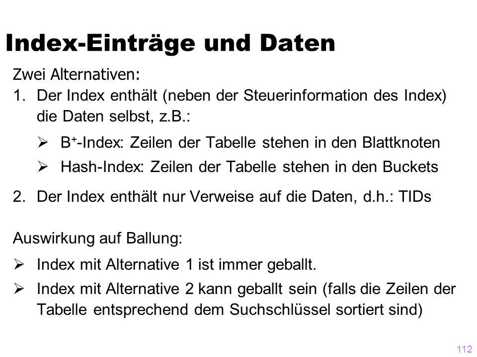 112 Zwei Alternativen: 1.Der Index enthält (neben der Steuerinformation des Index) die Daten selbst, z.B.:  B + -Index: Zeilen der Tabelle stehen in den Blattknoten  Hash-Index: Zeilen der Tabelle stehen in den Buckets 2.Der Index enthält nur Verweise auf die Daten, d.h.: TIDs Auswirkung auf Ballung:  Index mit Alternative 1 ist immer geballt.