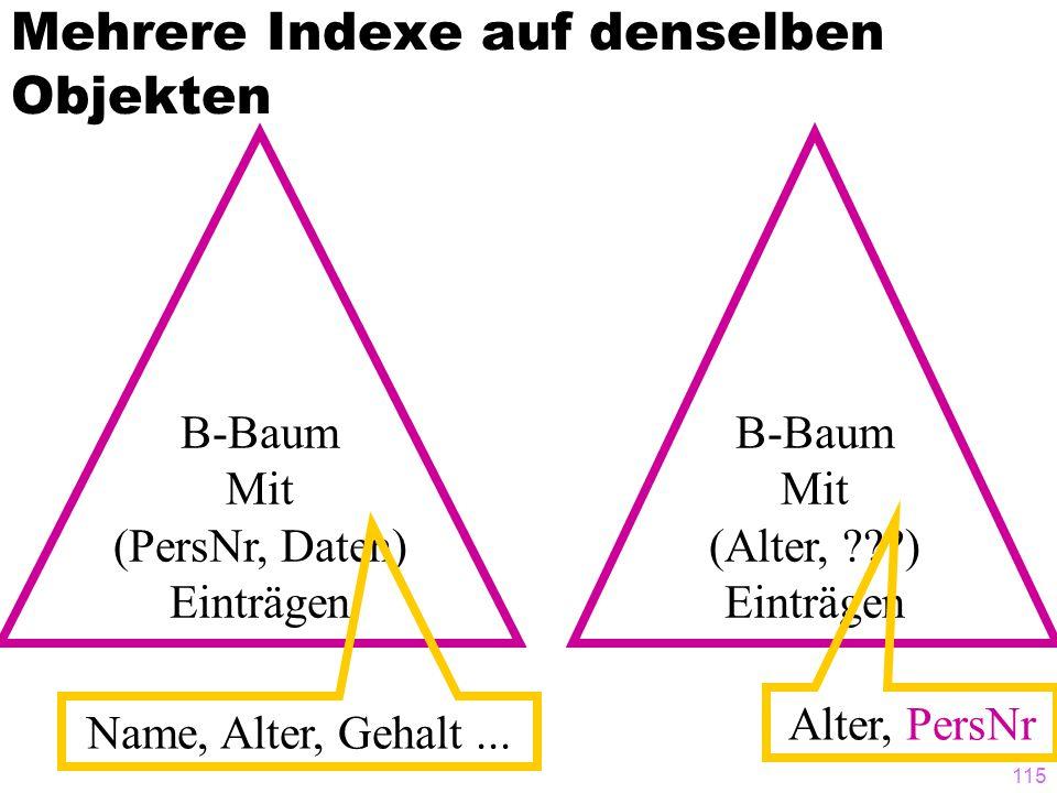 115 Mehrere Indexe auf denselben Objekten B-Baum Mit (PersNr, Daten) Einträgen Name, Alter, Gehalt... B-Baum Mit (Alter, ???) Einträgen Alter, PersNr