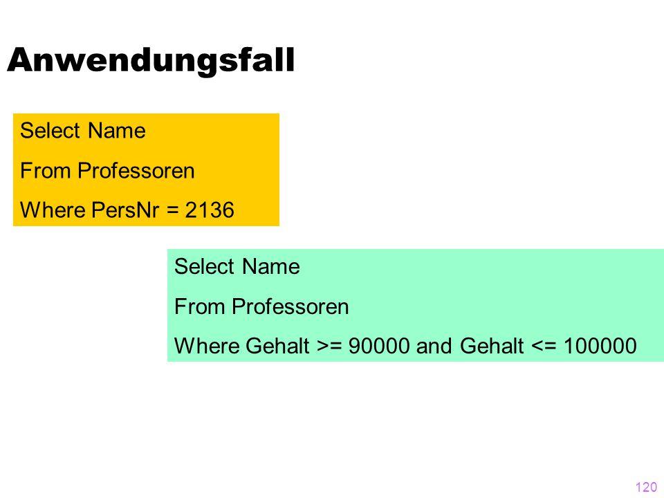 120 Anwendungsfall Select Name From Professoren Where PersNr = 2136 Select Name From Professoren Where Gehalt >= 90000 and Gehalt <= 100000
