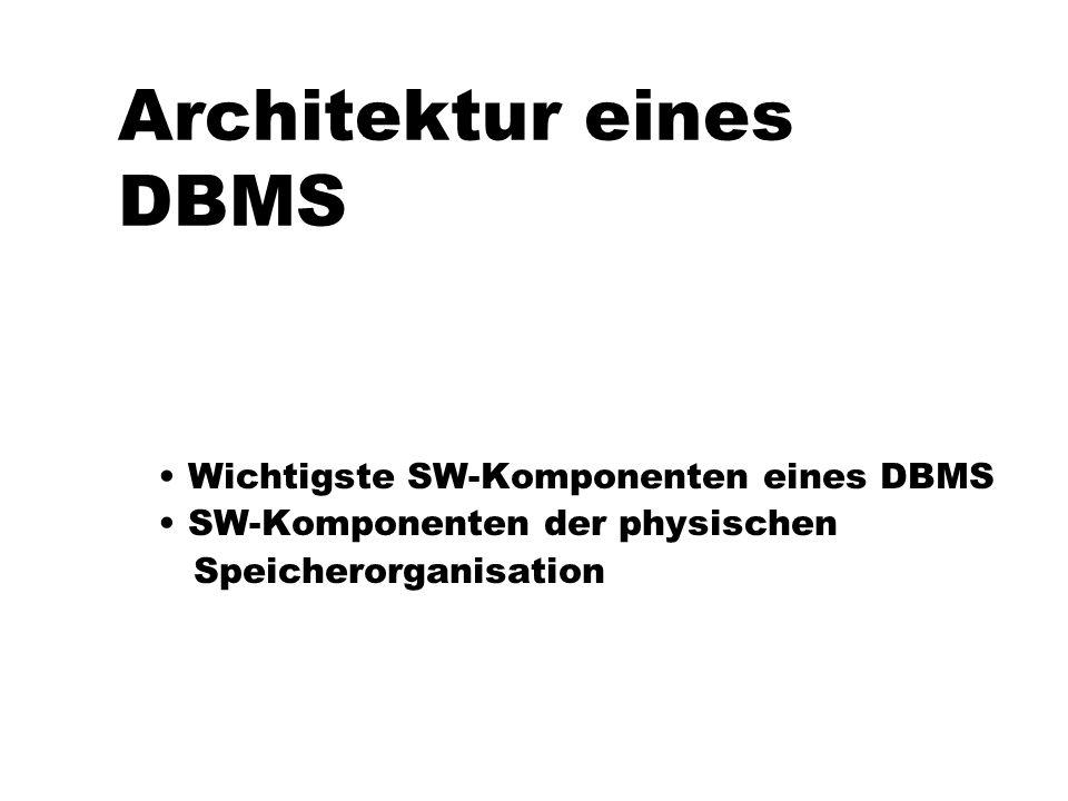 Architektur eines DBMS Wichtigste SW-Komponenten eines DBMS SW-Komponenten der physischen Speicherorganisation