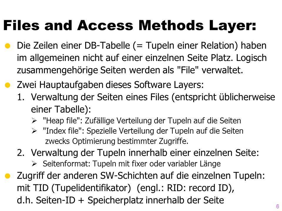 6  Die Zeilen einer DB-Tabelle (= Tupeln einer Relation) haben im allgemeinen nicht auf einer einzelnen Seite Platz. Logisch zusammengehörige Seiten