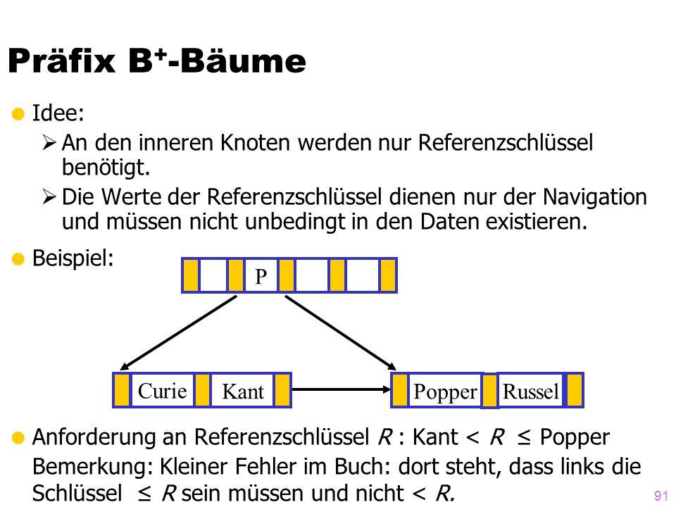 91  Idee:  An den inneren Knoten werden nur Referenzschlüssel benötigt.  Die Werte der Referenzschlüssel dienen nur der Navigation und müssen nicht