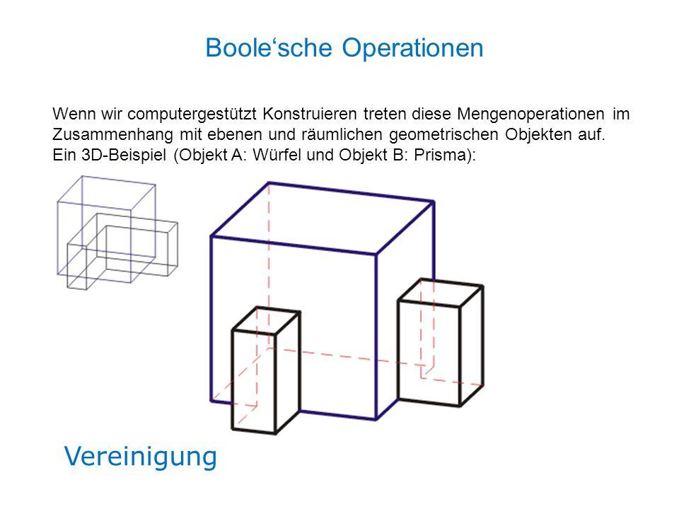 Vereinigung Boole'sche Operationen Wenn wir computergestützt Konstruieren treten diese Mengenoperationen im Zusammenhang mit ebenen und räumlichen geo