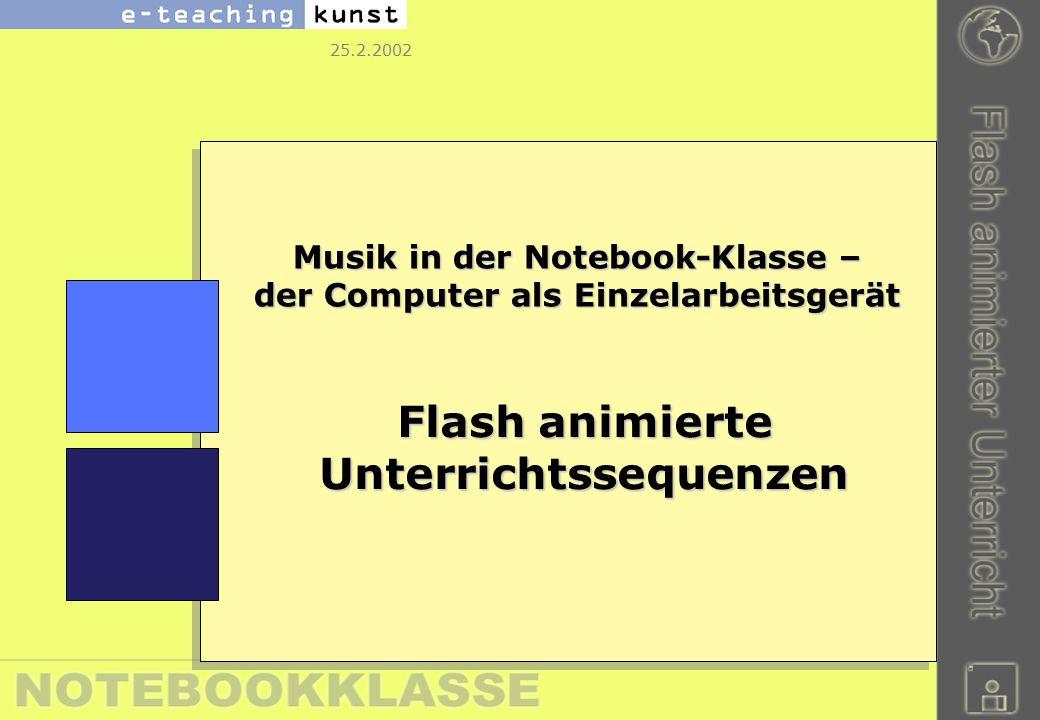 25.2.2002 Musik in der Notebook-Klasse – der Computer als Einzelarbeitsgerät Flash animierte Unterrichtssequenzen