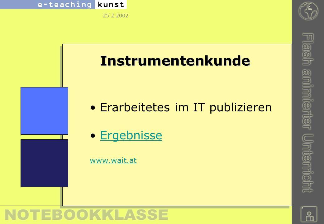 25.2.2002 Instrumentenkunde Erarbeitetes im IT publizieren Ergebnisse www.wait.at