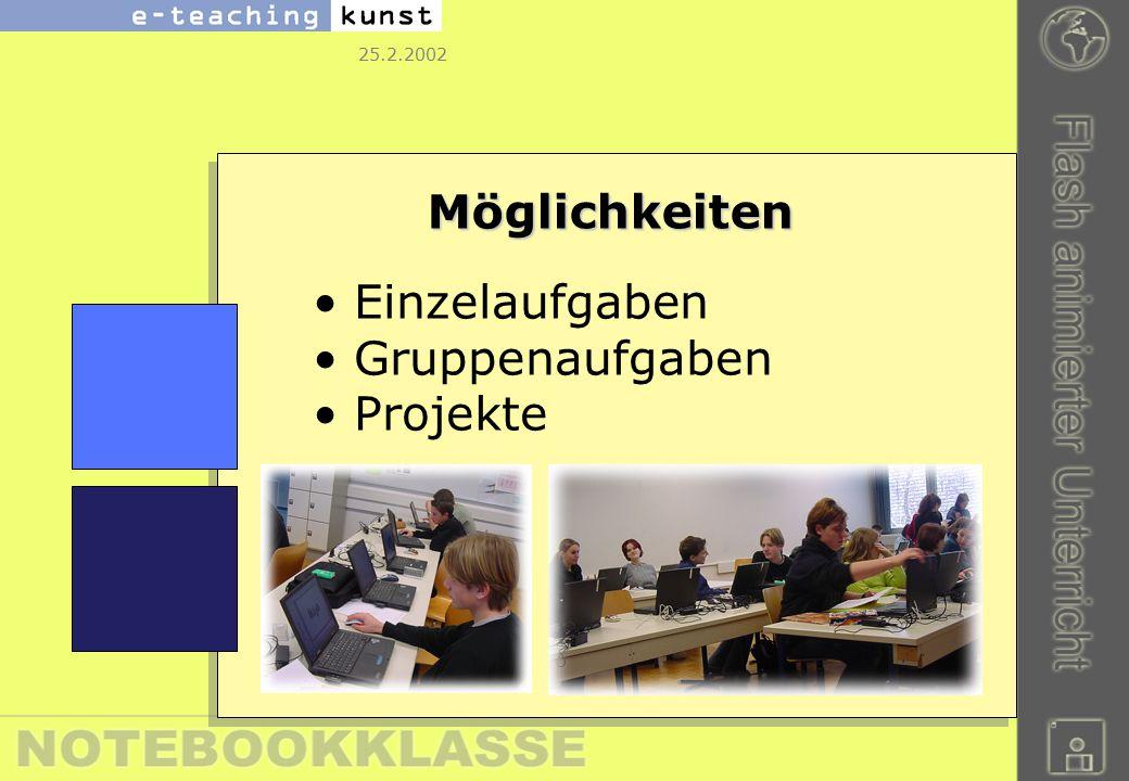 25.2.2002 Möglichkeiten Einzelaufgaben Gruppenaufgaben Projekte