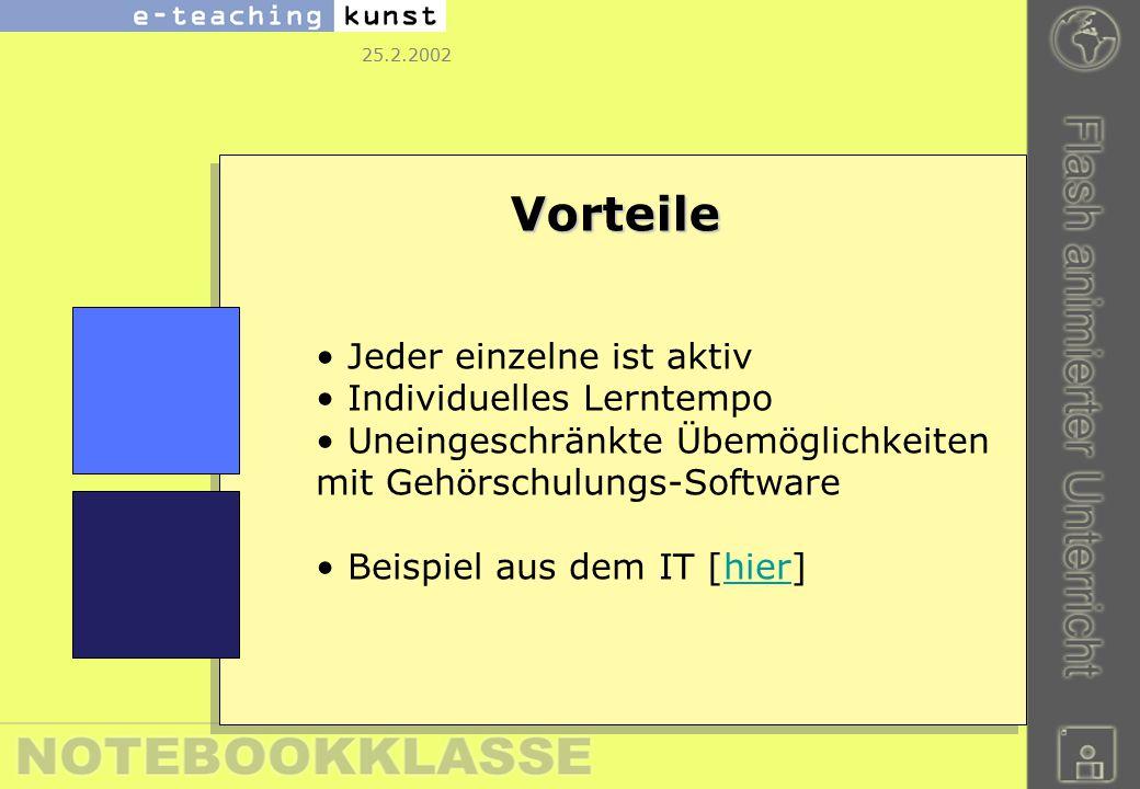 25.2.2002 Vorteile Jeder einzelne ist aktiv Individuelles Lerntempo Uneingeschränkte Übemöglichkeiten mit Gehörschulungs-Software Beispiel aus dem IT [hier]hier