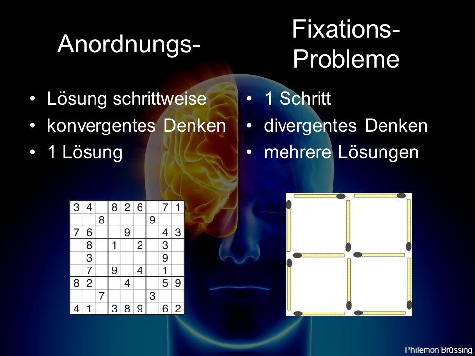 Anordnungs- Lösung schrittweise konvergentes Denken 1 Lösung 1 Schritt divergentes Denken mehrere Lösungen Fixations- Probleme Philemon Brüssing