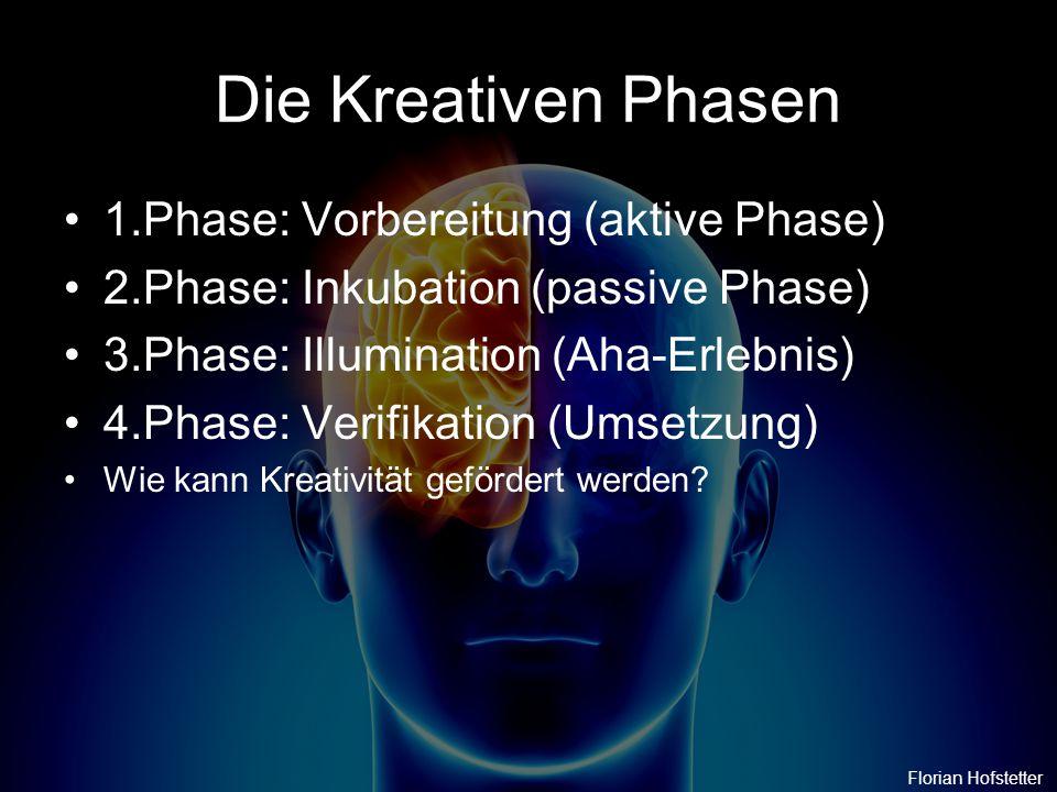 Die Kreativen Phasen 1.Phase: Vorbereitung (aktive Phase) 2.Phase: Inkubation (passive Phase) 3.Phase: Illumination (Aha-Erlebnis) 4.Phase: Verifikati