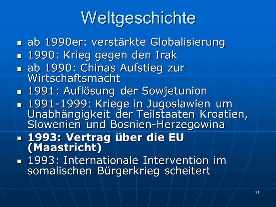 11Weltgeschichte ab 1990er: verstärkte Globalisierung ab 1990er: verstärkte Globalisierung 1990: Krieg gegen den Irak 1990: Krieg gegen den Irak ab 19