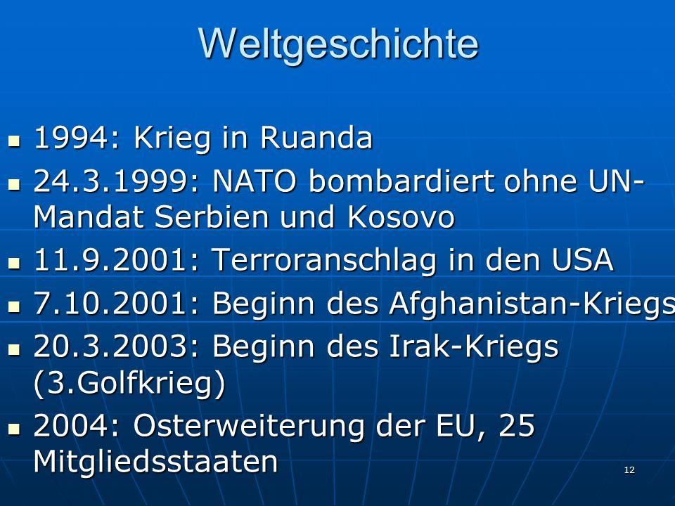 12Weltgeschichte 1994: Krieg in Ruanda 1994: Krieg in Ruanda 24.3.1999: NATO bombardiert ohne UN- Mandat Serbien und Kosovo 24.3.1999: NATO bombardier