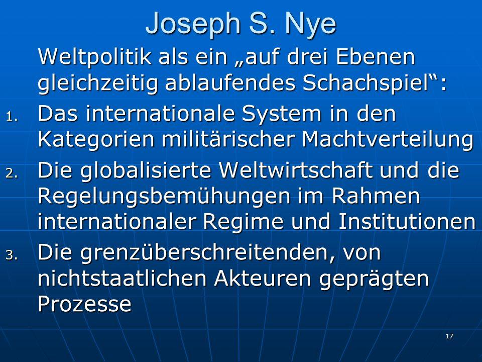 """17 Joseph S. Nye Weltpolitik als ein """"auf drei Ebenen gleichzeitig ablaufendes Schachspiel"""": 1. Das internationale System in den Kategorien militärisc"""