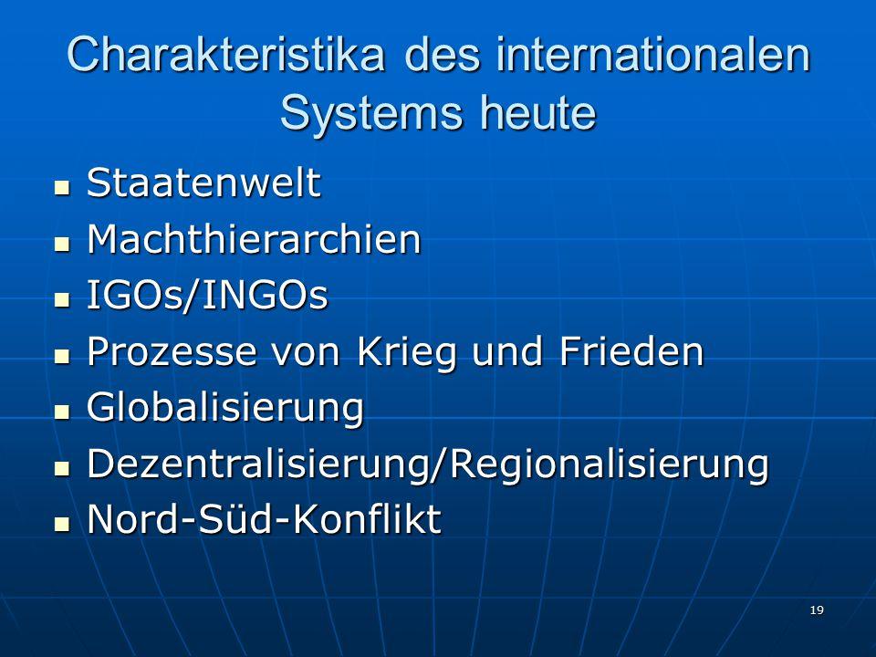 19 Charakteristika des internationalen Systems heute Staatenwelt Staatenwelt Machthierarchien Machthierarchien IGOs/INGOs IGOs/INGOs Prozesse von Krie