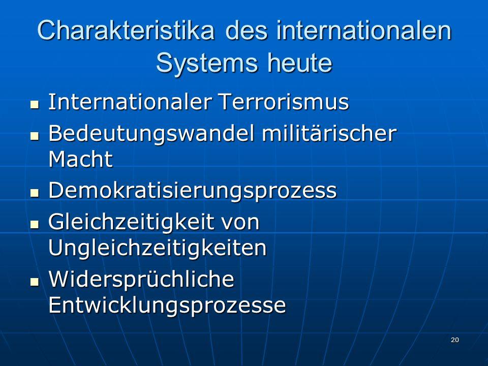 20 Charakteristika des internationalen Systems heute Internationaler Terrorismus Internationaler Terrorismus Bedeutungswandel militärischer Macht Bede