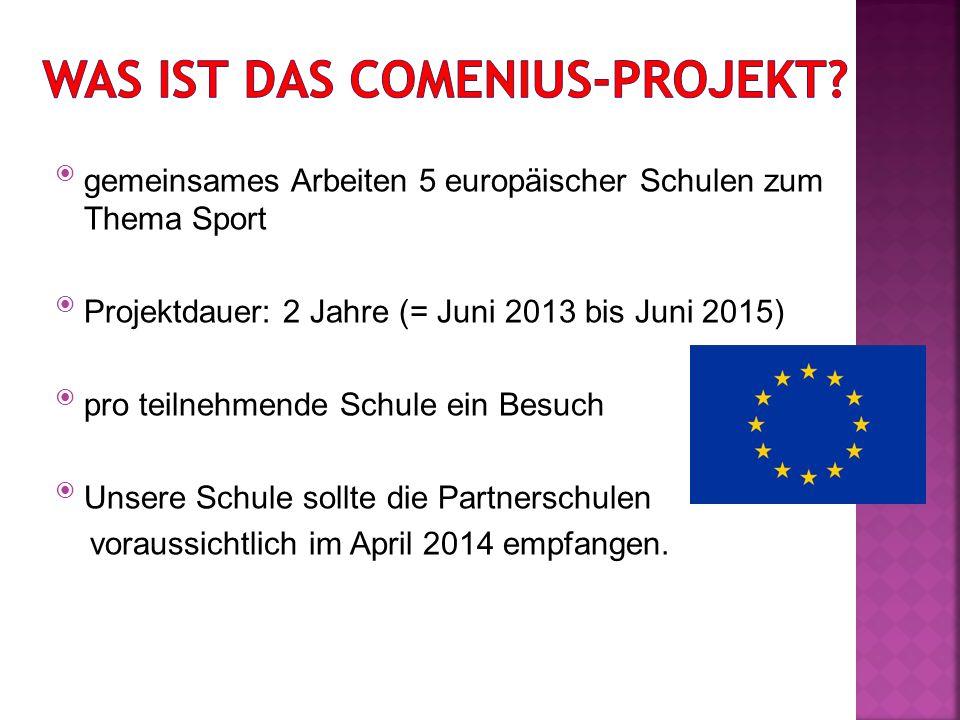  gemeinsames Arbeiten 5 europäischer Schulen zum Thema Sport  Projektdauer: 2 Jahre (= Juni 2013 bis Juni 2015)  pro teilnehmende Schule ein Besuch  Unsere Schule sollte die Partnerschulen voraussichtlich im April 2014 empfangen.