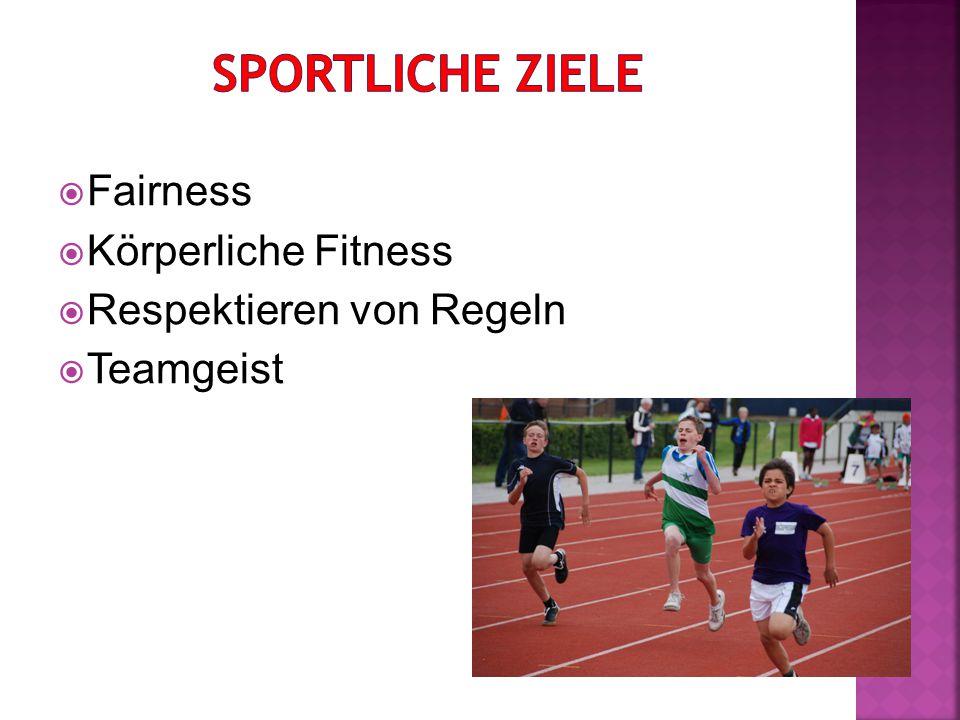  Fairness  Körperliche Fitness  Respektieren von Regeln  Teamgeist