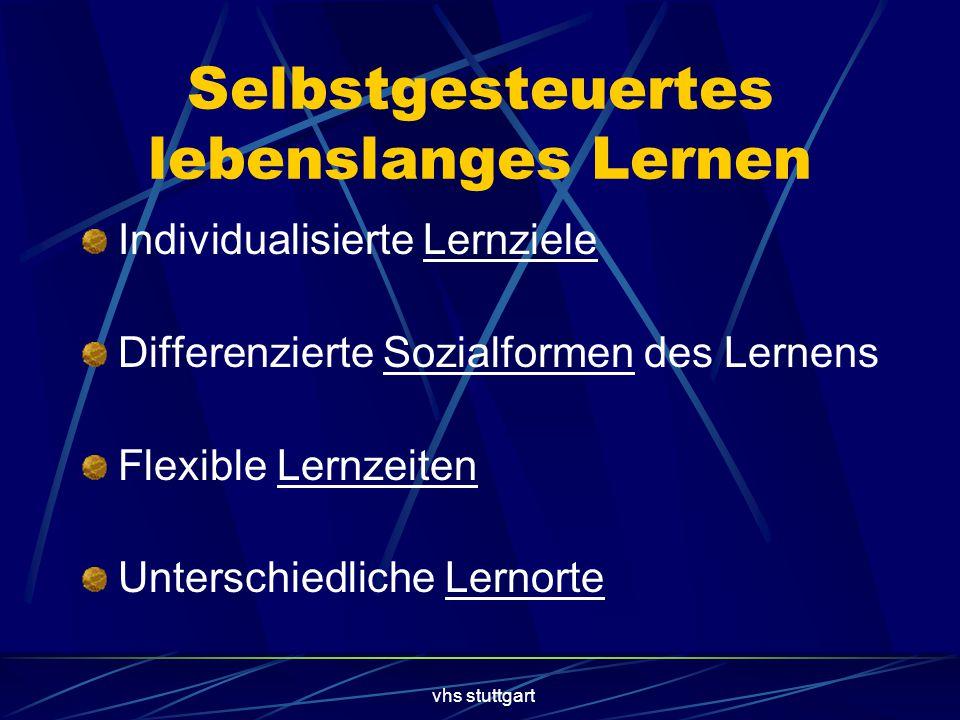 vhs stuttgart Selbstgesteuertes lebenslanges Lernen Individualisierte Lernziele Differenzierte Sozialformen des Lernens Flexible Lernzeiten Unterschiedliche Lernorte