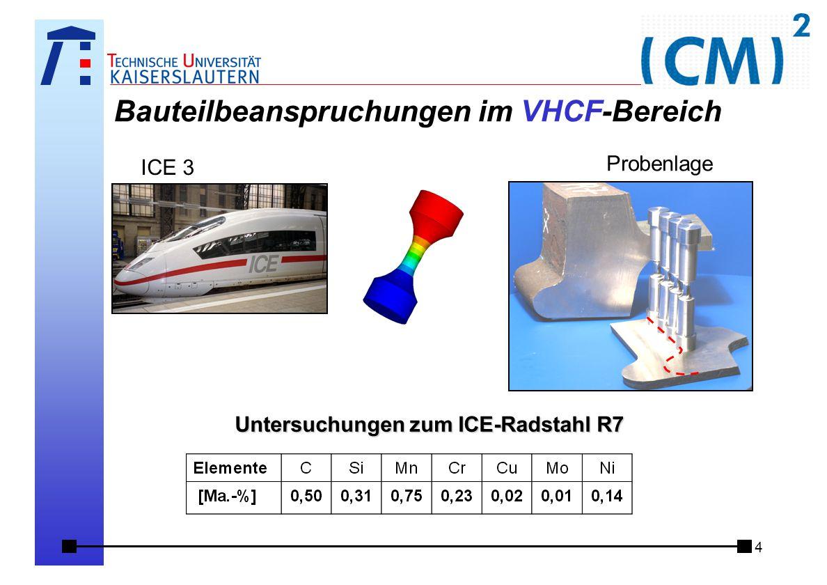 4 Bauteilbeanspruchungen im VHCF-Bereich ICE 3 Untersuchungen zum ICE-Radstahl R7 Probenlage