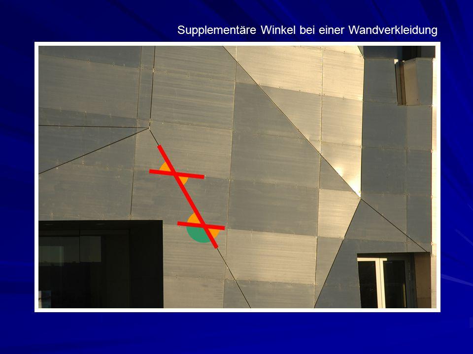 Supplementäre Winkel bei einer Wandverkleidung