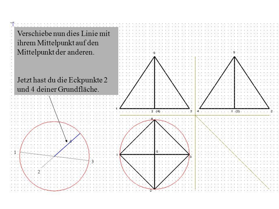 1 3 Verschiebe nun dies Linie mit ihrem Mittelpunkt auf den Mittelpunkt der anderen.