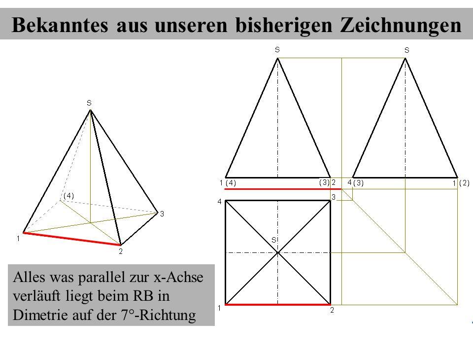 Alles was parallel zur x-Achse verläuft liegt beim RB in Dimetrie auf der 7°-Richtung Bekanntes aus unseren bisherigen Zeichnungen