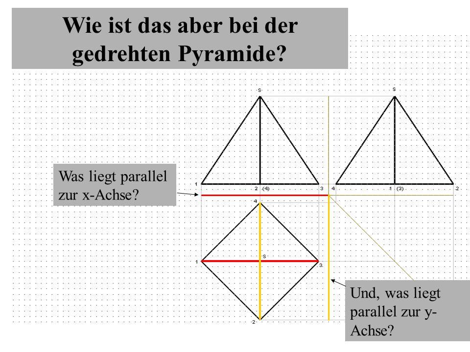 Wie ist das aber bei der gedrehten Pyramide.Was liegt parallel zur x-Achse.
