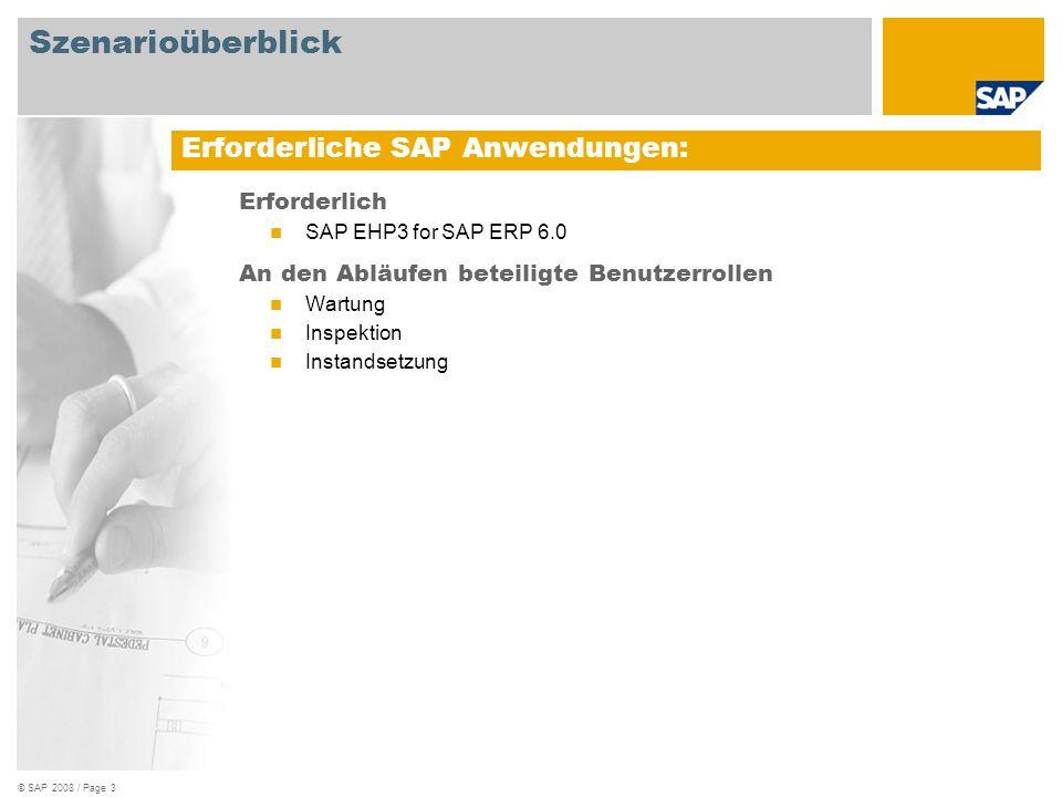© SAP 2008 / Page 3 Erforderlich SAP EHP3 for SAP ERP 6.0 An den Abläufen beteiligte Benutzerrollen Wartung Inspektion Instandsetzung Erforderliche SA