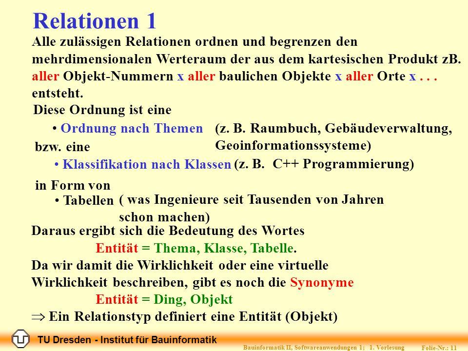 TU Dresden - Institut für Bauinformatik Folie-Nr.: 10 Bauinformatik II, Softwareanwendungen 1; 1.