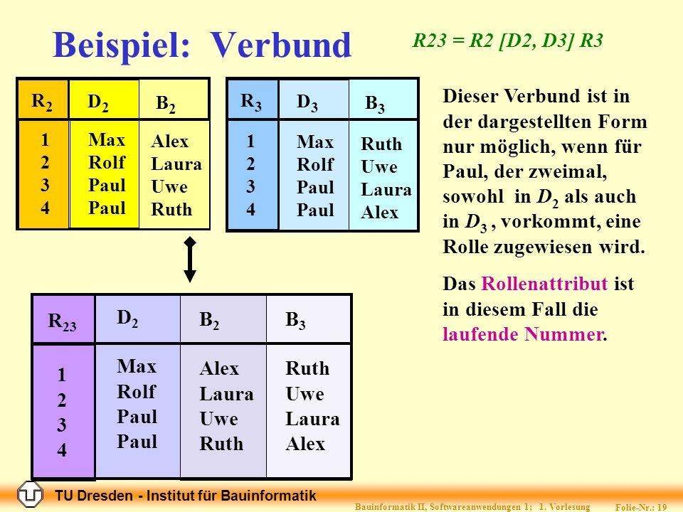 TU Dresden - Institut für Bauinformatik Folie-Nr.: 18 Bauinformatik II, Softwareanwendungen 1; 1.