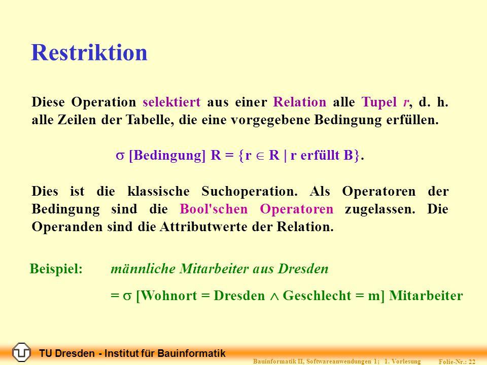 TU Dresden - Institut für Bauinformatik Folie-Nr.: 21 Bauinformatik II, Softwareanwendungen 1; 1.
