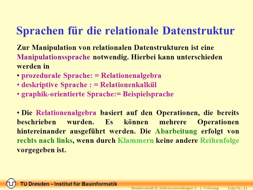 TU Dresden - Institut für Bauinformatik Folie-Nr.: 23 Bauinformatik II, Softwareanwendungen 1; 1.