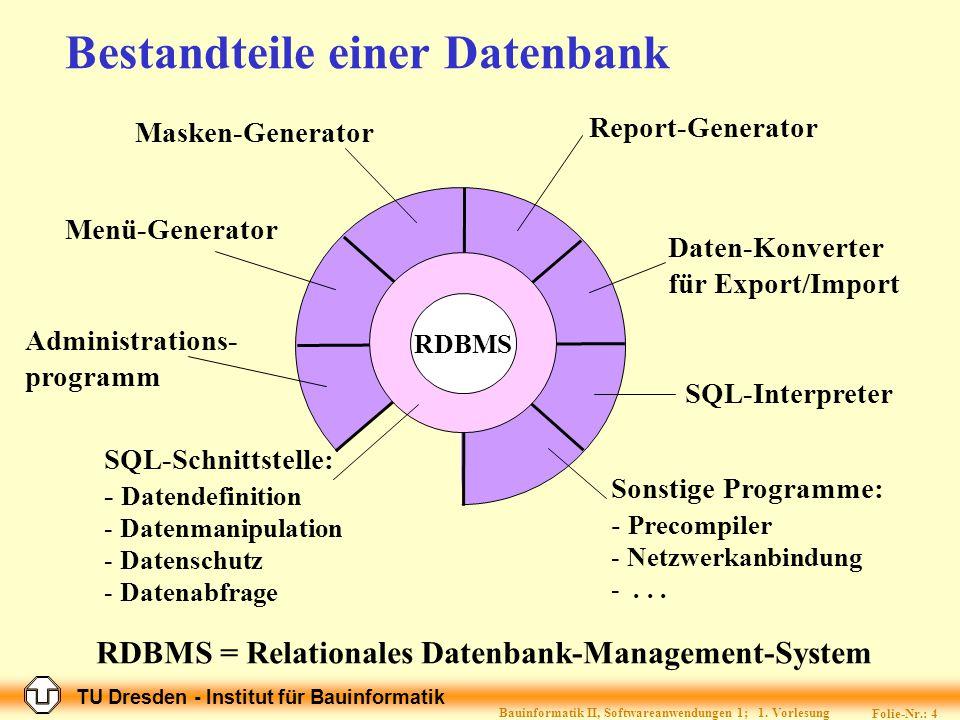 TU Dresden - Institut für Bauinformatik Folie-Nr.: 14 Bauinformatik II, Softwareanwendungen 1; 1.