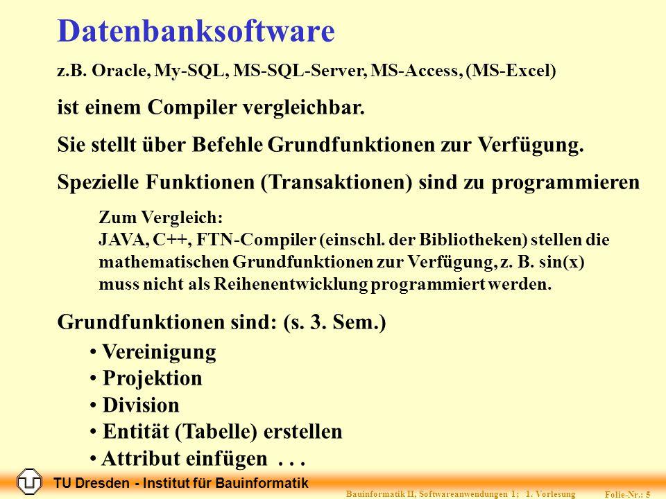TU Dresden - Institut für Bauinformatik Folie-Nr.: 25 Bauinformatik II, Softwareanwendungen 1; 1.