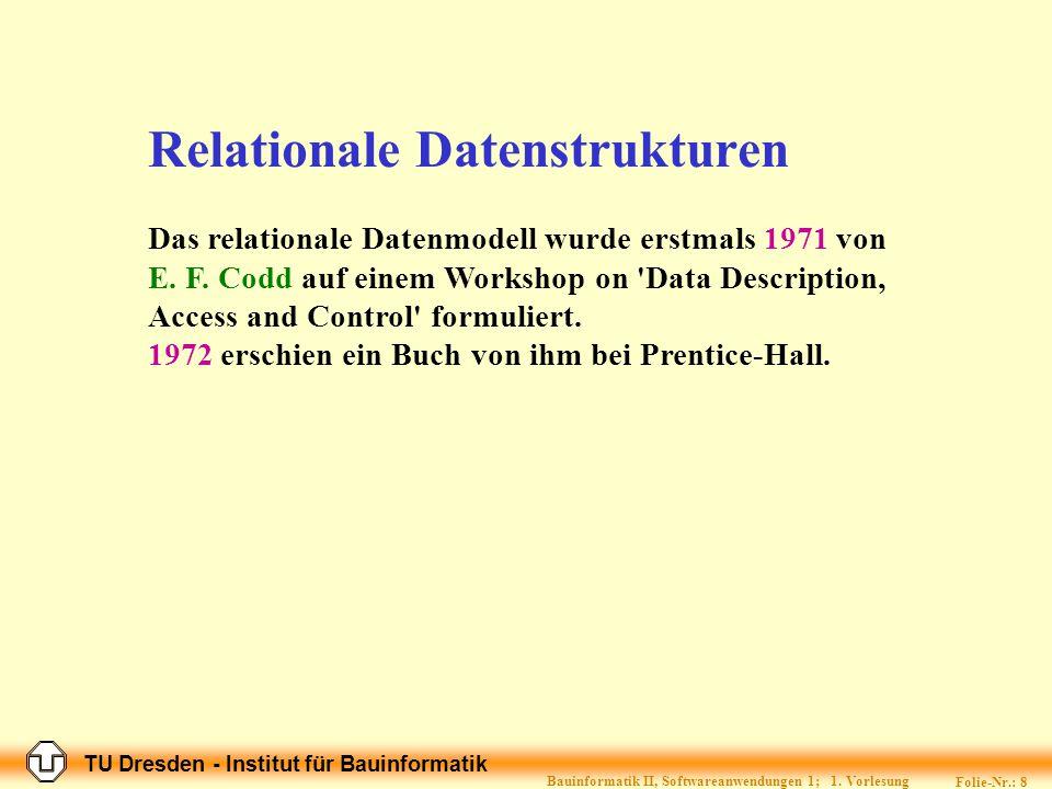 TU Dresden - Institut für Bauinformatik Folie-Nr.: 7 Bauinformatik II, Softwareanwendungen 1; 1.