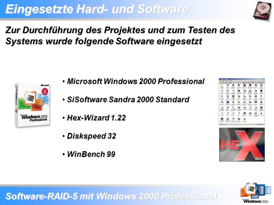 Software-RAID-5 mit Windows 2000 Professional Microsoft Windows 2000 Professional Microsoft Windows 2000 Professional SiSoftware Sandra 2000 Standard