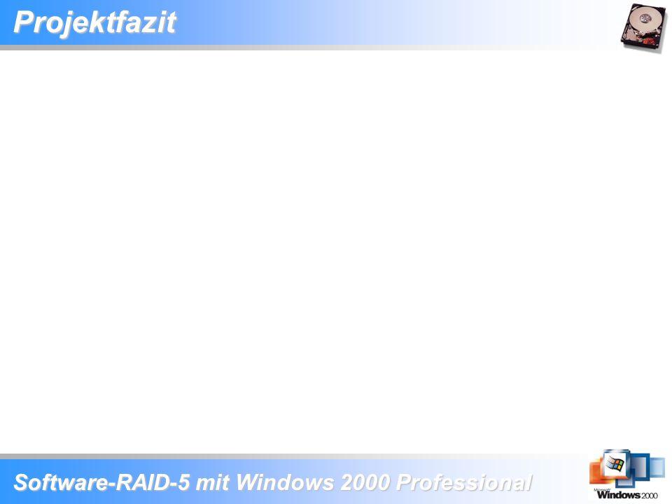 Software-RAID-5 mit Windows 2000 Professional Projektfazit
