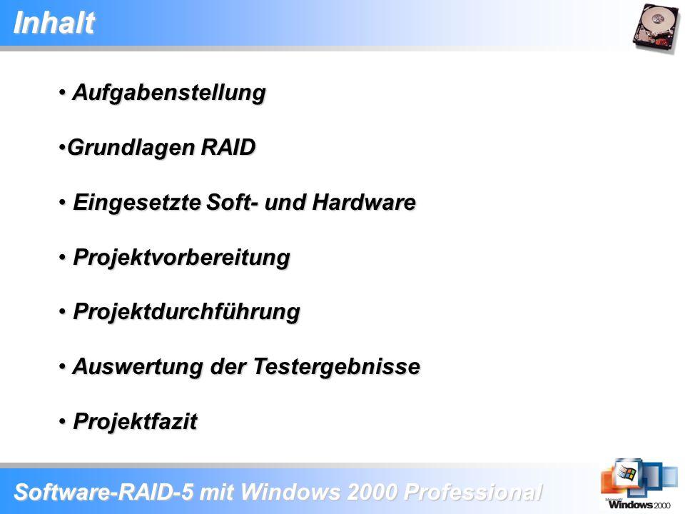 Software-RAID-5 mit Windows 2000 Professional Inhalt Aufgabenstellung Aufgabenstellung Grundlagen RAIDGrundlagen RAID Eingesetzte Soft- und Hardware E