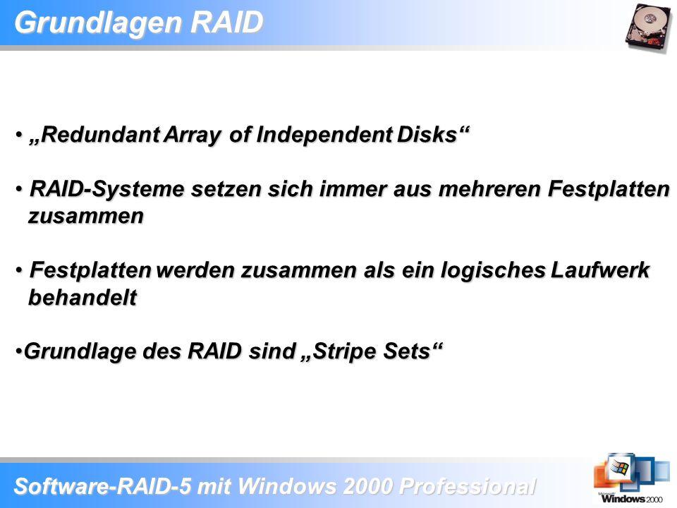 "Software-RAID-5 mit Windows 2000 Professional Grundlagen RAID ""Redundant Array of Independent Disks"" ""Redundant Array of Independent Disks"" RAID-Syste"