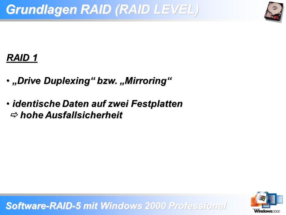 """Software-RAID-5 mit Windows 2000 Professional Grundlagen RAID (RAID LEVEL) RAID 1 """"Drive Duplexing"""" bzw. """"Mirroring"""" """"Drive Duplexing"""" bzw. """"Mirroring"""