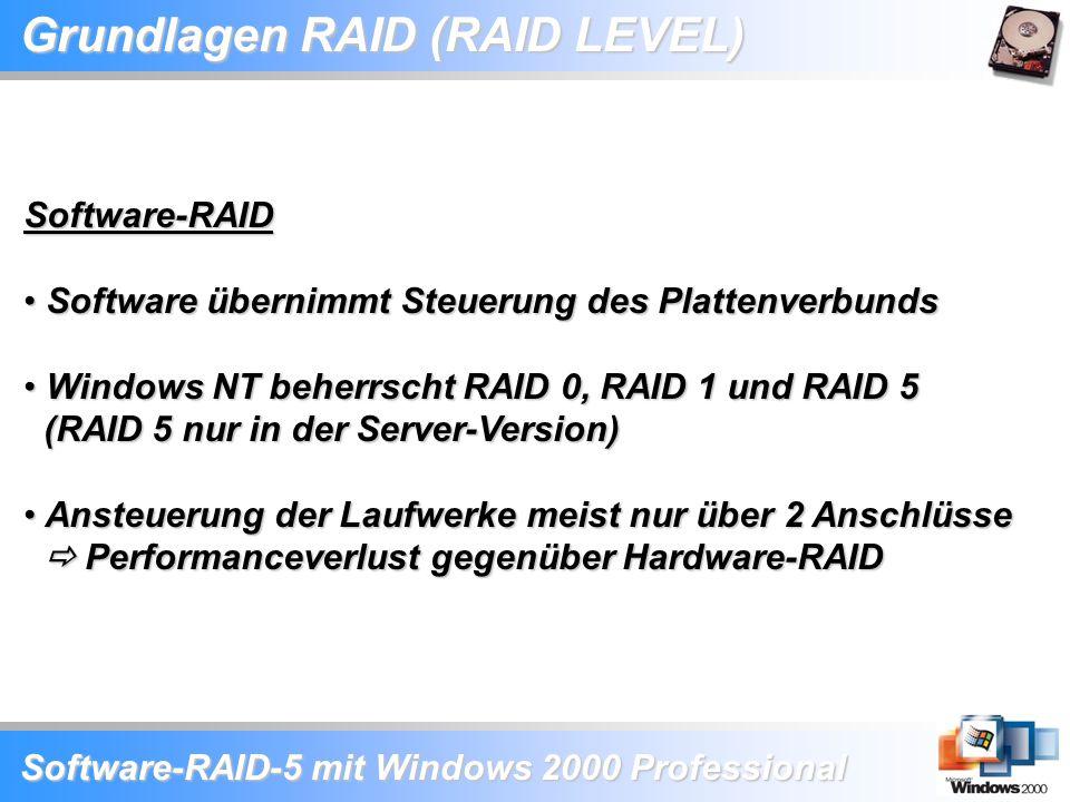 Software-RAID-5 mit Windows 2000 Professional Grundlagen RAID (RAID LEVEL) Software-RAID Software übernimmt Steuerung des Plattenverbunds Software übe