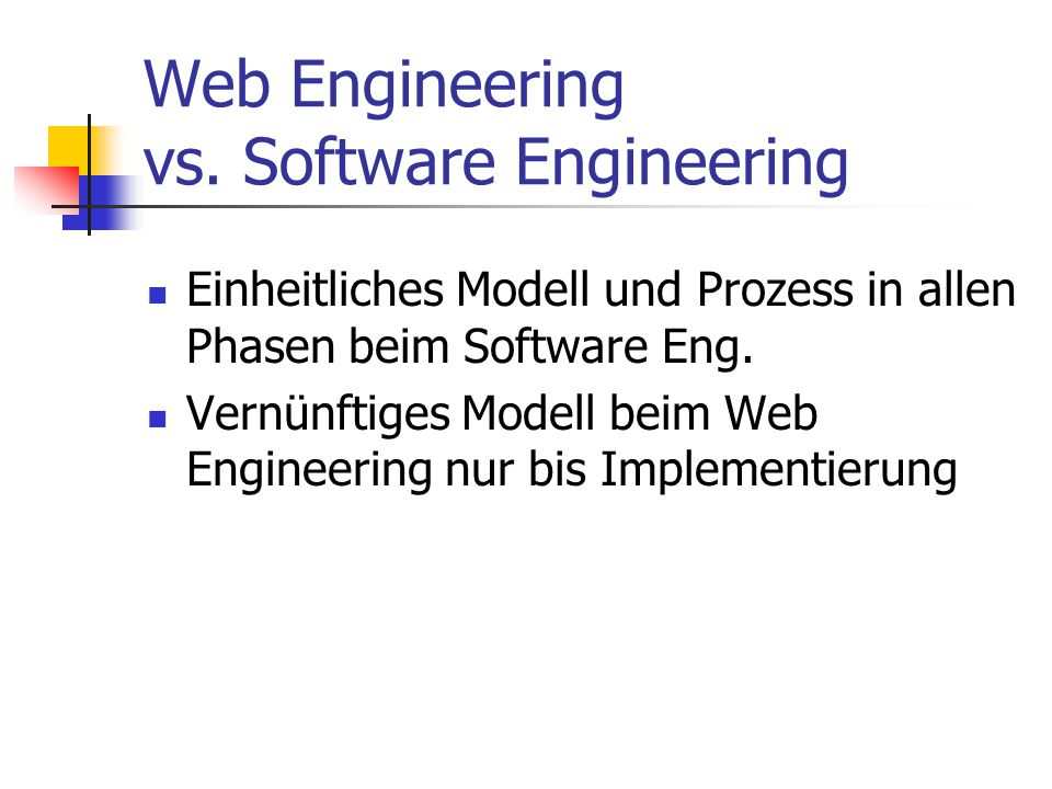 Web Engineering vs.