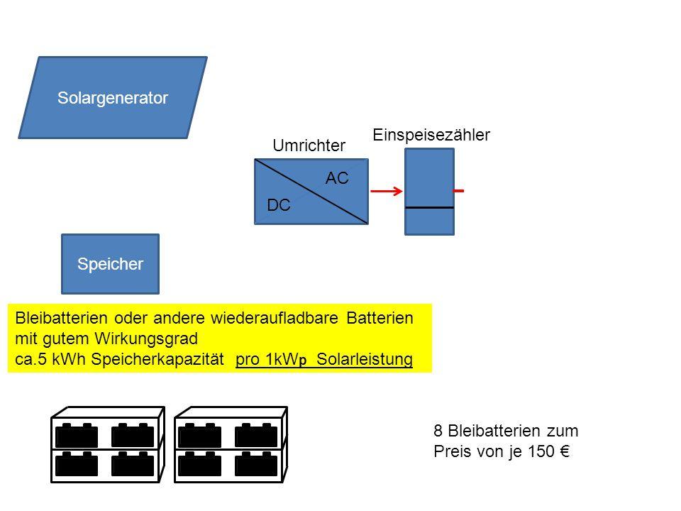 Speicher DC AC Solargenerator Umrichter Einspeisezähler Bleibatterien oder andere wiederaufladbare Batterien mit gutem Wirkungsgrad ca.5 kWh Speicherkapazität pro 1kW p Solarleistung 8 Bleibatterien zum Preis von je 150 €